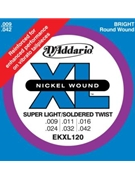 String--guitar  D'addario Kxl120 - X-light - Nickel/round